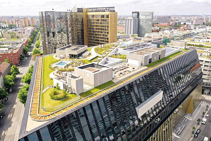 Green roof on office building Berlin, 2020